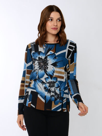 Floral Knit Top In Midnight Blue