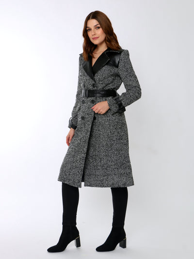 Cafe Jade Salt & Pepper Tweed Coat In Black