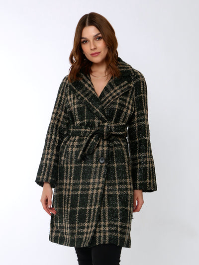 Cafe Jade Check Coat in Emerald Green