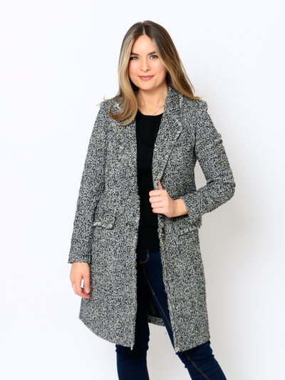 Cafe Jade Tweed Coat In Black