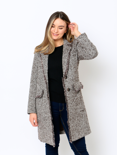Cafe Jade Tweed Coat In Coffee