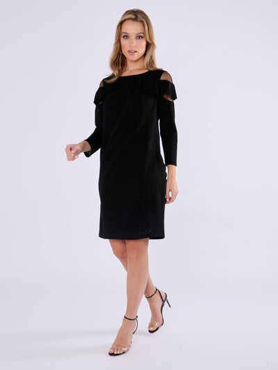 Black Metallic Thread Dress