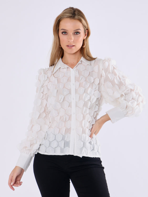 Paper Effect Shirt with Pearl Buttons - Wren Clothing