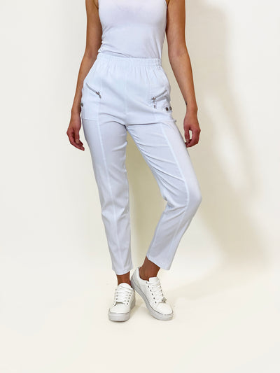 Pull-On Cotton Pants In White - Wren Clothing