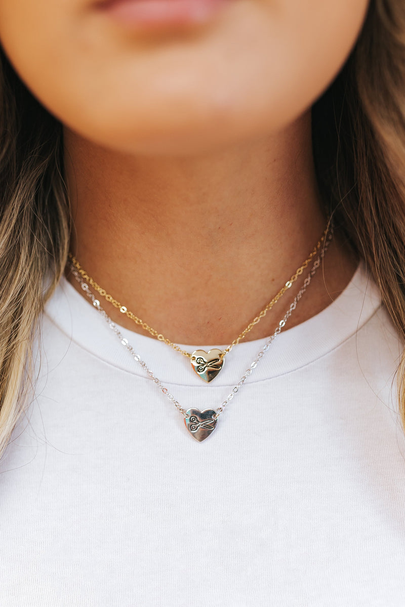 LaurDIY Heart Scissors Necklace - Silver