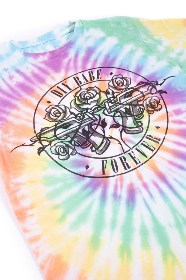 DIY Babe Forever Spiral Tie Dye T-Shirt