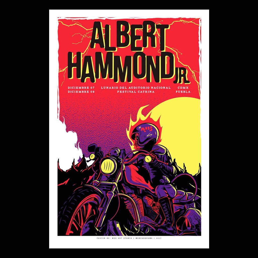 Albert Hammond Jr. Mexico 2017 Wes Art Studio Gig Poster