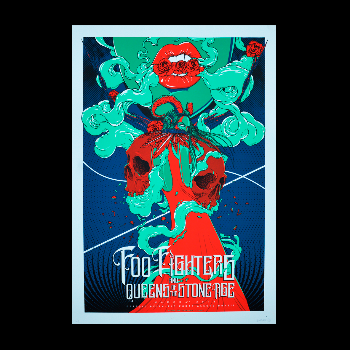 Foo Fighters/Queens of the Stone Age Porto Alegre 2018 Nares Gig Poster