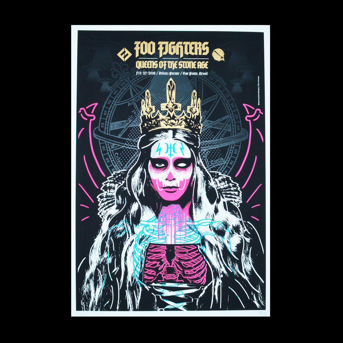 Foo Fighters/Queens of the Stone Age Sao Paulo 2018  Ratta Rodriguez Gig poster