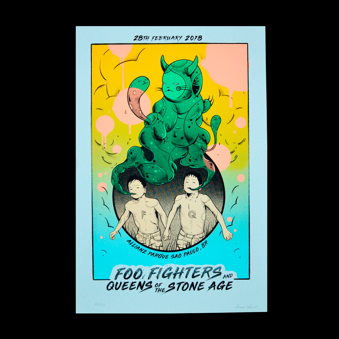Foo Fighters/Queens of the Stone Age Sao Paulo 2018 Trevore Valensuela Gig poster