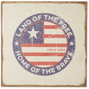 Land of the Free Wooden Sign