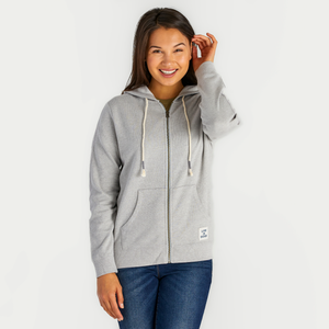 Women's Light Heather Gray Simply True Zip Hoodie
