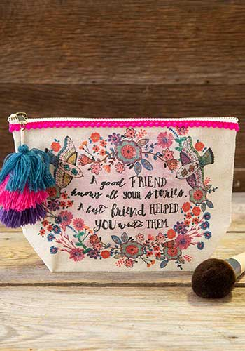 Natural canvas bag with multicolored wreath surrounding text of