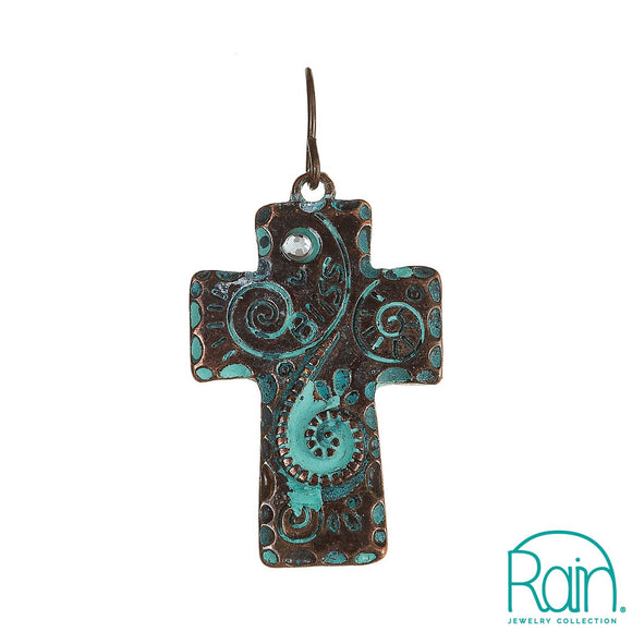 Swirl Cross Earrings