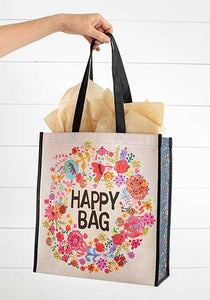 "Natural life recycled  Happy Bag text surround by multi-colored 5"" wreath of flowers on white background."