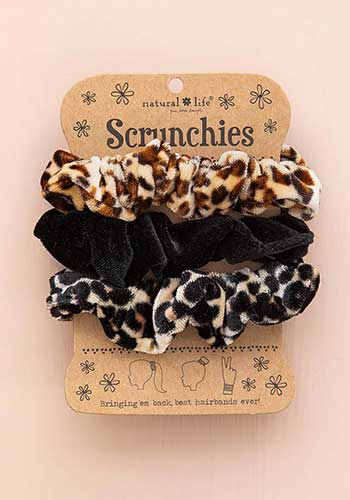Natural life set of 3 super soft velvet scrunchies in leopard print, jaguar print and solid black.