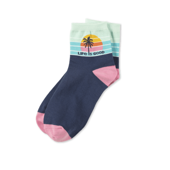 Women's Palm Tree Stripe Anklet Socks