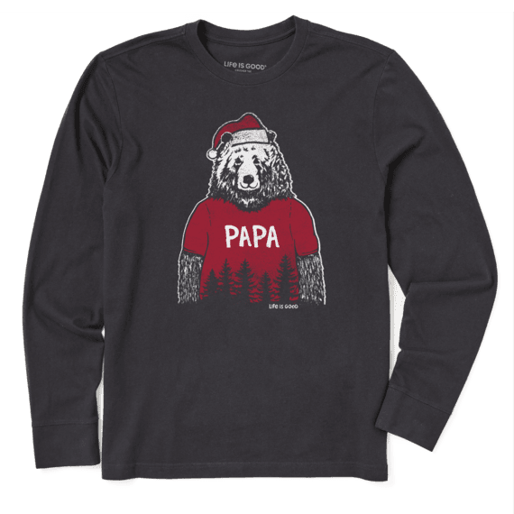 Men's Papa Bear Santa Long Sleeve Crusher Tee