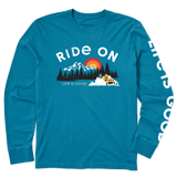 Men's Ride On Snowmobile Long Sleeve Crusher Tee