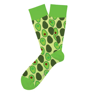 light green socks with continuous avocado print with dark green color blocking on heel toe and top band