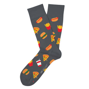 dark grey socks with fast food items such as hotdogs burgers fries and pizza printed across the sock