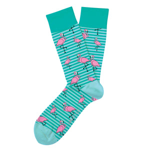 teal and light teal striped socks with pink flamingos printed around sock. teal color blocking at heal toes and top band of sock