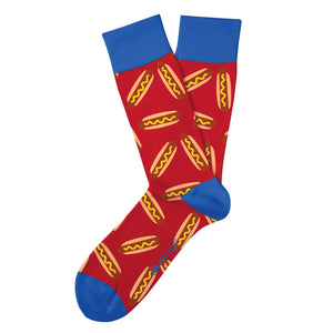 red novelty sock with hot dogs printed all over with blue color blocking on heel toes and top band of sock