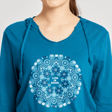 Women's Wildflower Primal Mandala Long Sleeve Hooded Smooth Tee