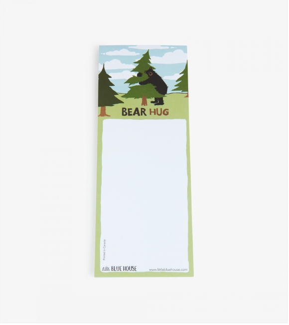 Bear Hug Printed notepad with magnet backing has a Bear hugging a tree