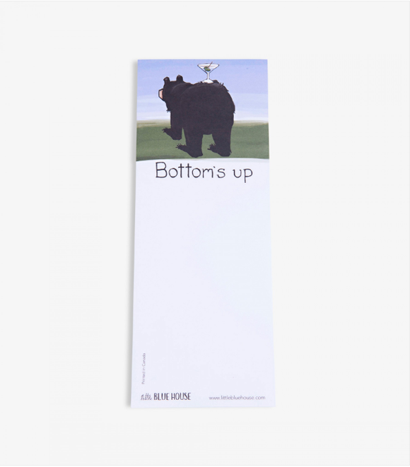 Bottoms Up Printed notepad with magnet backing has a Black bear with cocktail glass on backside