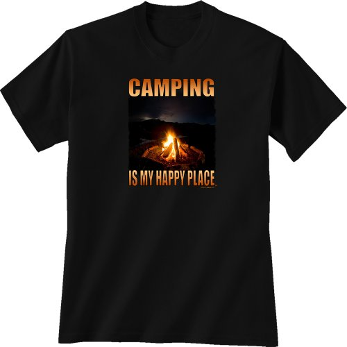 Camping is my happy place on black t-shirt. Campfire burning in the dark.