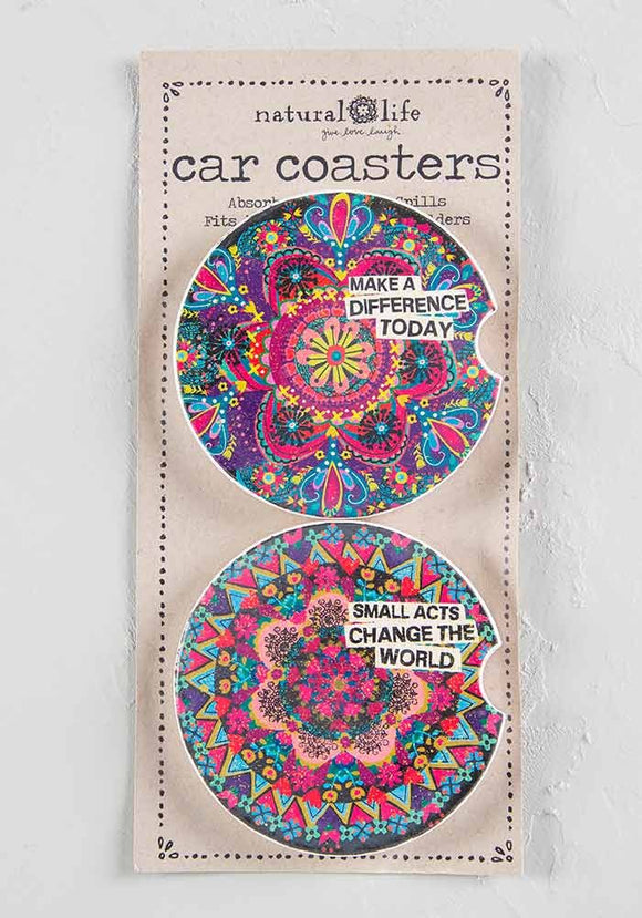 2 car coasters in packaging. Bright multi-colored mandala stamped coaster 1 has text