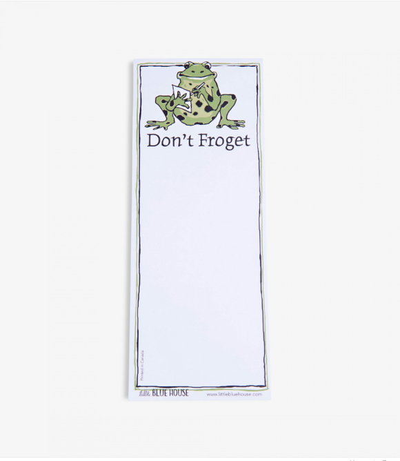 Don't Froget Printed notepad with magnet backing has a frog writing a note