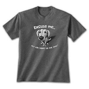 Excuse me....are you going to eat that? Comical dog on heathered blue T-shirt