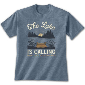 The lake is calling (don't let it go to voicemail) on heathered blue t-shirt.  Dock and catails in foreground of  sun set