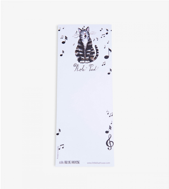 Note pad Printed notepad with magnet backing has music notes and black striped cat singing