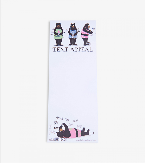 Text appeal Printed notepad with magnet backing has four black bears texting