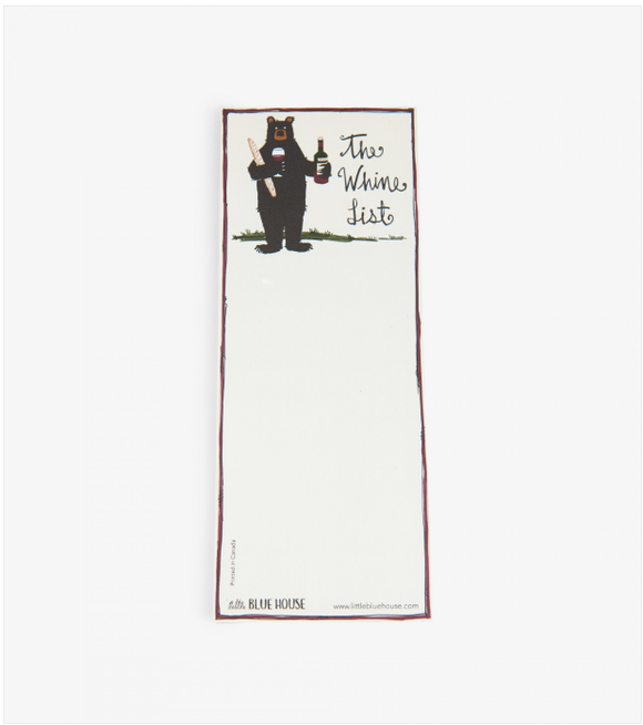 The Whine list Printed notepad with magnet backing has black bear holding bottle of wine
