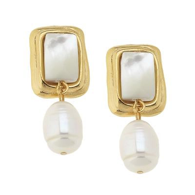 RECTANGLE & PEARL EARRINGS
