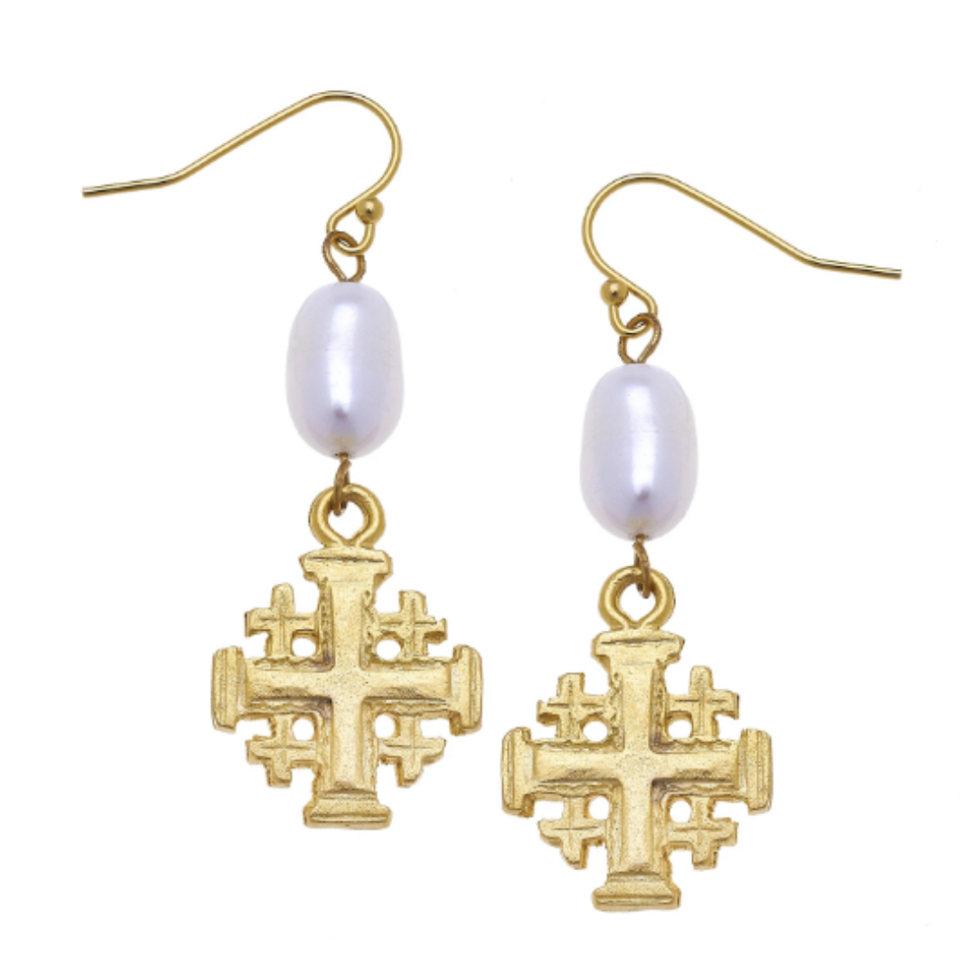 CROSS & PEARL DANGLE EARRINGS