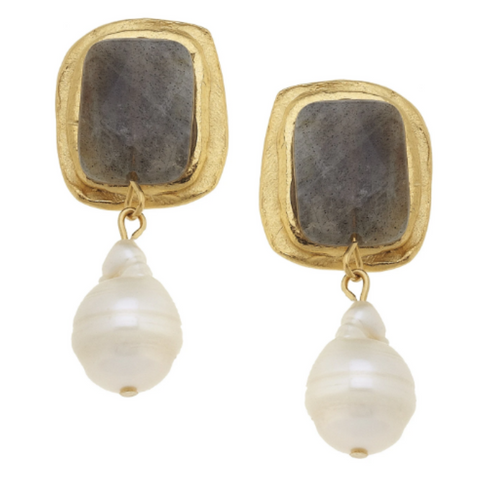 RECTANGLE & PEARL EARRINGS - LABRODRITE