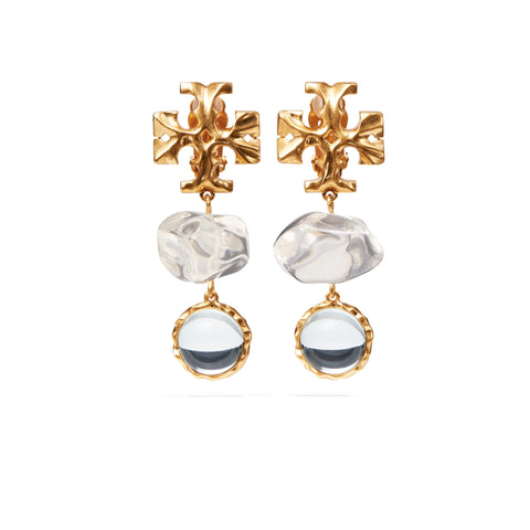 ROXANNE DOUBLE - DROP EARRING - CRYSTAL / GOLD