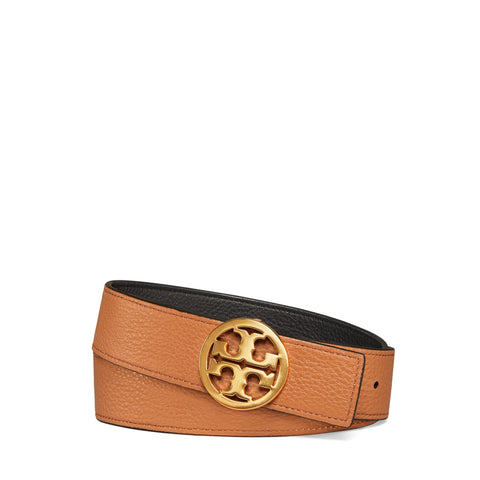 "1 1/2"" REVERSIBLE LOGO BELT - BLACK / NEW CUOIO / GOLD"