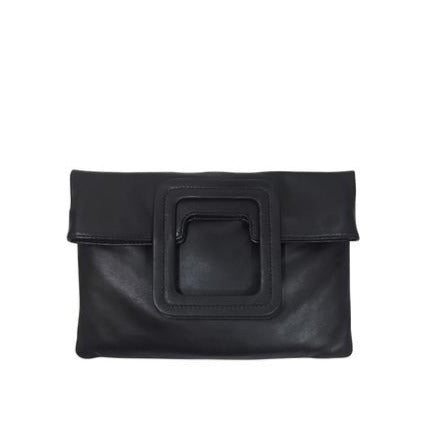 MATEO FOLD OVER CLUTCH & CROSSBODY - BLACK