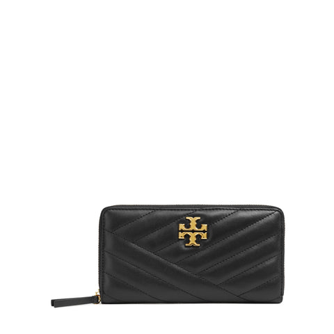 KIRA CHEVRON ZIP CONTINENTAL WALLET - BLACK