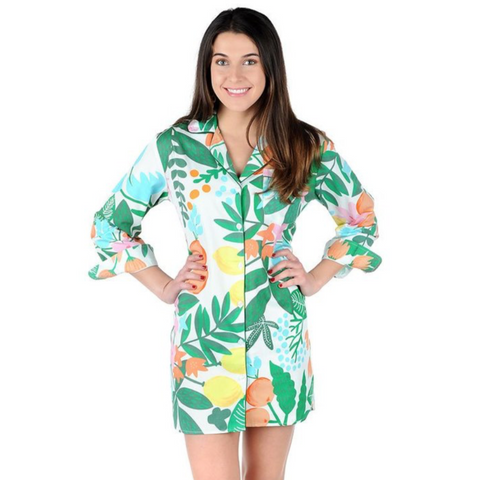 FLORAL & FRUIT SATEEN SLEEP SHIRT