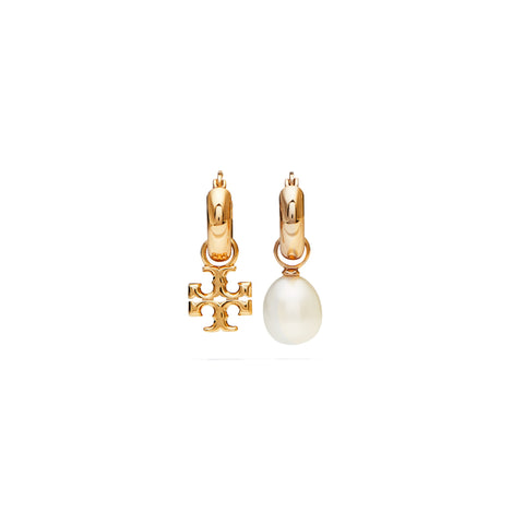 KIRA PEARL MISMATCHED HOOP EARRING - GOLD