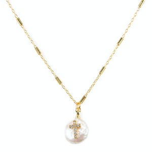 DAINTY CROSS PEARL NECKLACE