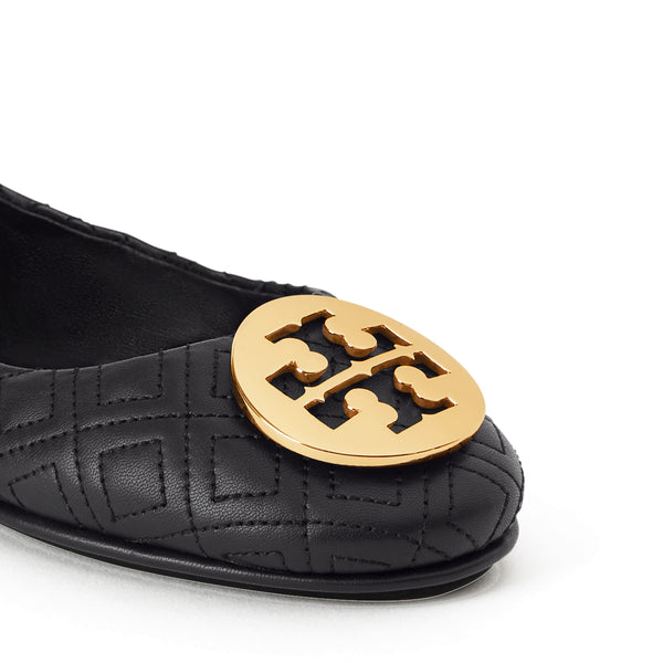 MINNIE TRAVEL BALLET FLAT QUILTED LEATHER - PERFECT BLACK / GOLD