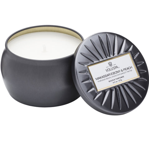 MAKASSAR EBONY & PEACH - PETITE TIN CANDLE